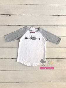 "{SHIRT} ""Three"" Arrow Birthday Raglan"