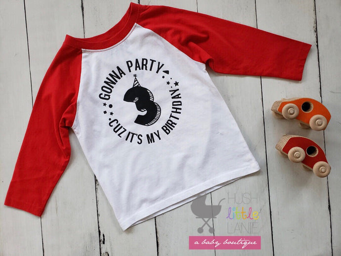 {SHIRT} Gonna Party Boys 3rd Birthday - RAGLAN RED - 3rd Birthday