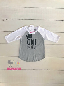 {SHIRT} Mr. One-derful Raglan (Grey w/ white sleeves)