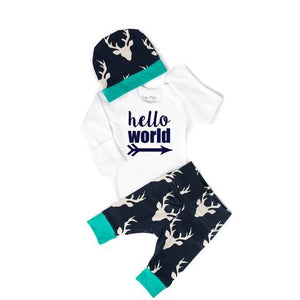 Gigi and Max - Navy Hello World Deer Newborn Set