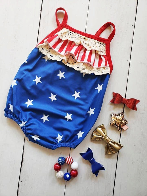 {ROMPER} Stars And Stripes Lace Bubble
