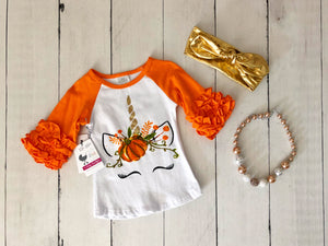 {SHIRT} Pumpkin Unicorn Raglan