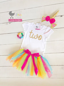 "{SHIRT} ""Two"" Gold Glitter Birthday Shirt"