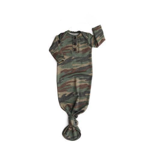 Gigi and Max - Camo Knotted Button Newborn Gown