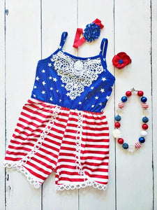{ROMPER} Stars And Stripes Lace