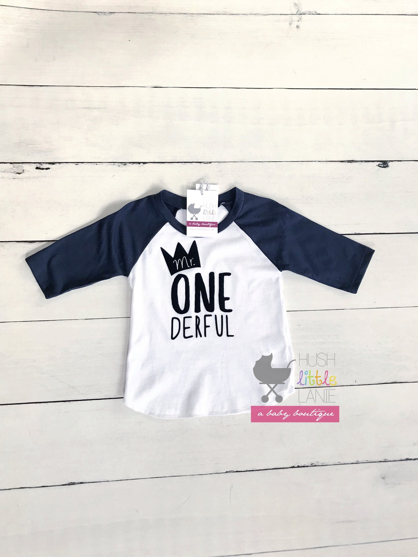 {SHIRT} Mr. One-derful Raglan (White w/ navy sleeves)