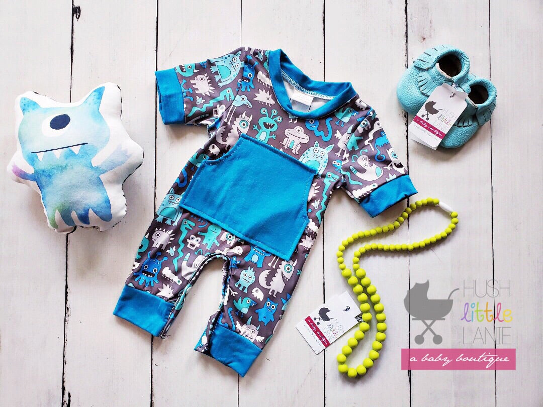 {ROMPER} Blue Monsters