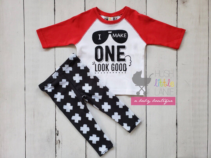 {SHIRT} I Make One Look Good - RAGLAN RED - 1st Birthday
