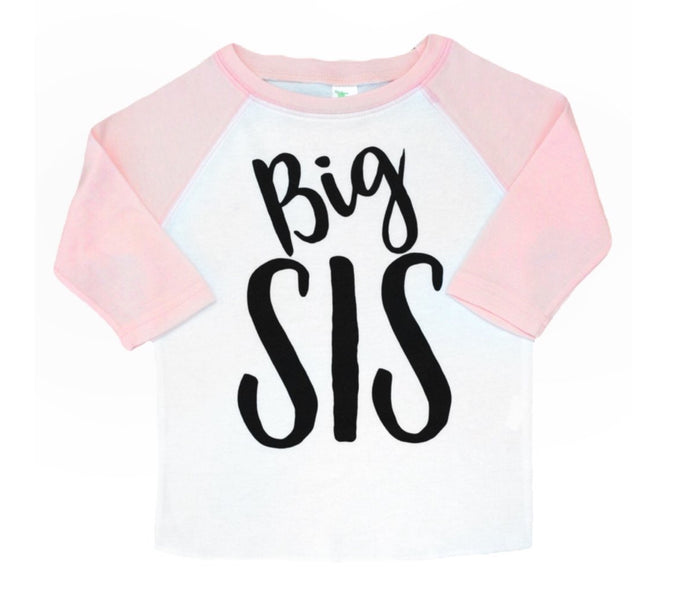 {SHIRT} Big Sis Light Pink Raglan