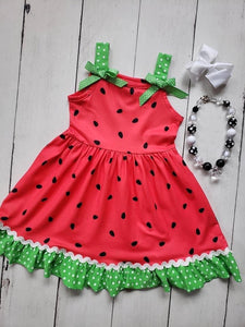 {DRESS} Watermelon Ric Rac