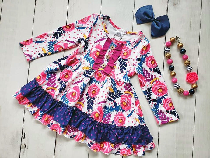 {DRESS} Pink Floral Ruffle