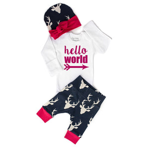 Gigi and Max - Pink Hello World Deer Newborn Set