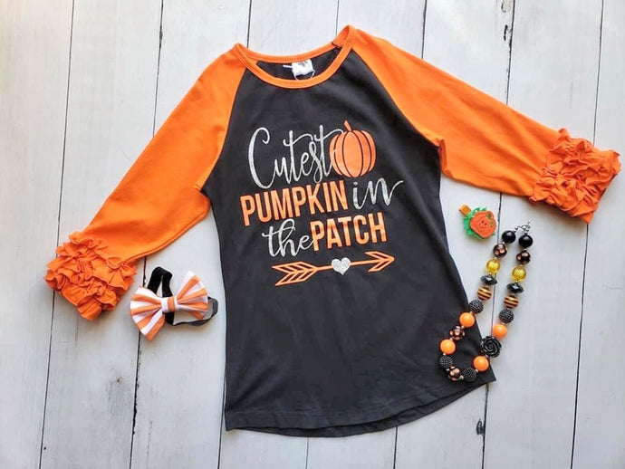 {SHIRT} Cutest Pumpkin Ruffle Raglan