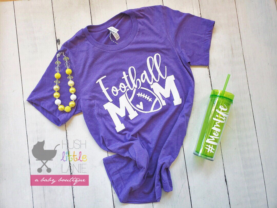 {MOM TEE} Football Mom - Heather Purple
