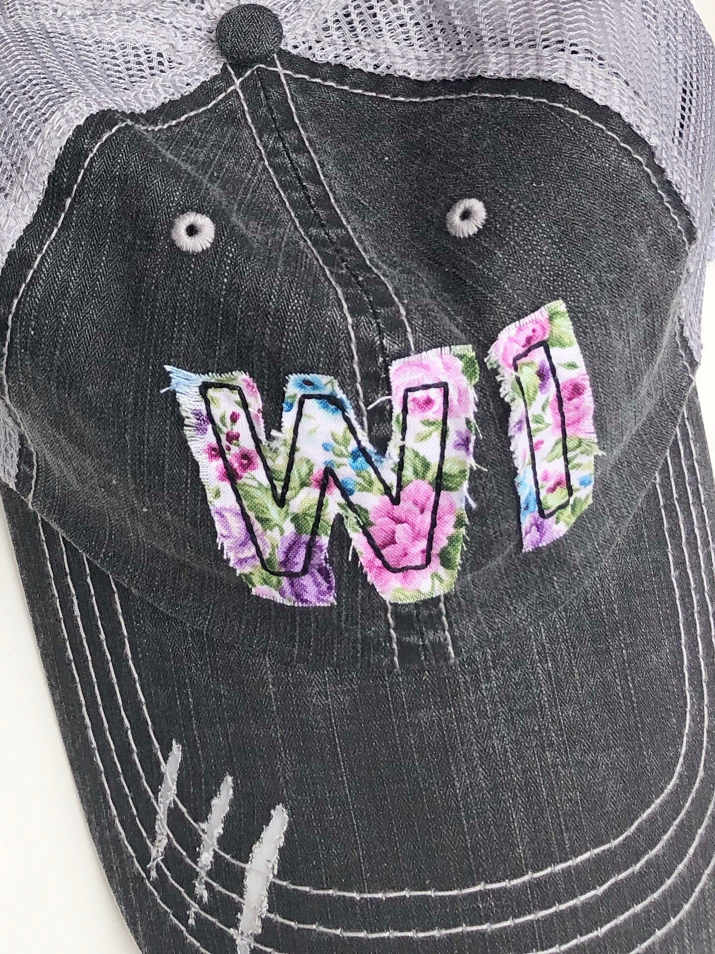 {MOM HAT} Wisconsin - WI Initials Floral