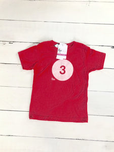 "{SHIRT} ""3"" Red Birthday Shirt (Glow-in-the-Dark)"