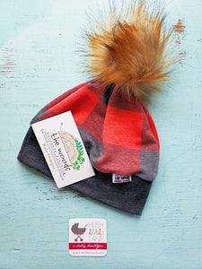 {HAT} Beanie - Small (0-6m) Buffalo Plaid