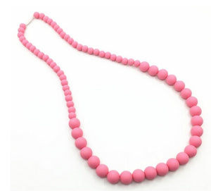 {TEETHER} Silicone Teething Necklace - Pink