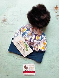 {HAT} Beanie - Small (0-6m) Blue Mustard Triangle
