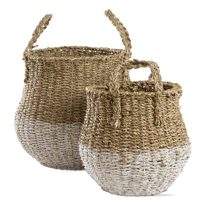 Two Tone Seagrass Basket set of 2 - Blank Slate Designs