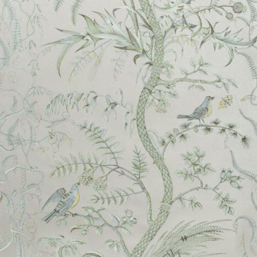 BRUNSCHWIG & FILS BIRD AND THISTLE SILVER WALLPAPER