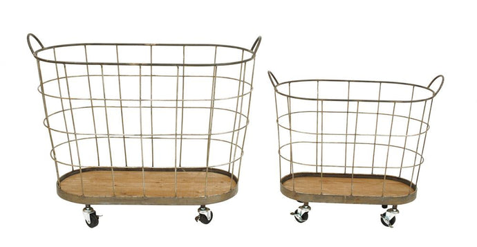 Metal Laundry Baskets on Casters - SET of 2