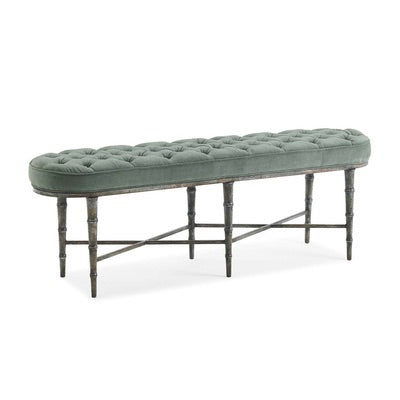 The Finishing Touch - Blue Tufted X-Base Bench