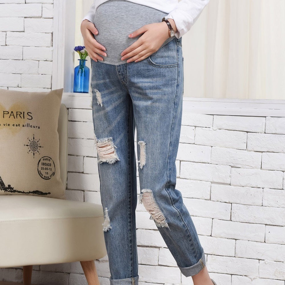 e547280867cd4 ... MotherHoodLeggings loose Pregnant Woman Ripped Jeans Female Maternity  Pants Trousers Nursing Prop Belly Legging Autumn Clothes MotherHoodLeggings  ...