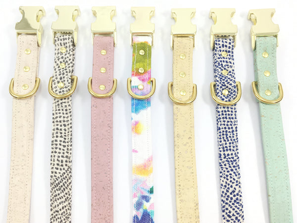 designer vegan leather dog collars in cork leather and cotton fabric with brass buckles