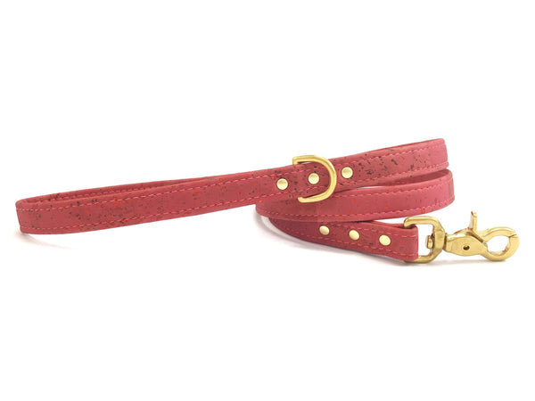 Pink dog leash/lead in pretty rose pink vegan cork leather with luxury brass hardware