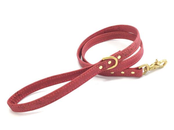 Pink dog lead in eco friendly, sustainable and ethical vegan cork leather, handmade in the UK