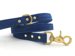 Blue dog leash in luxury vegan cork leather with solid brass trigger snap hook