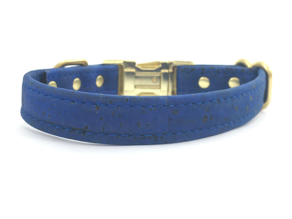 Boy dog collar in bright navy blue unique vegan cork leather with gold brass hardware