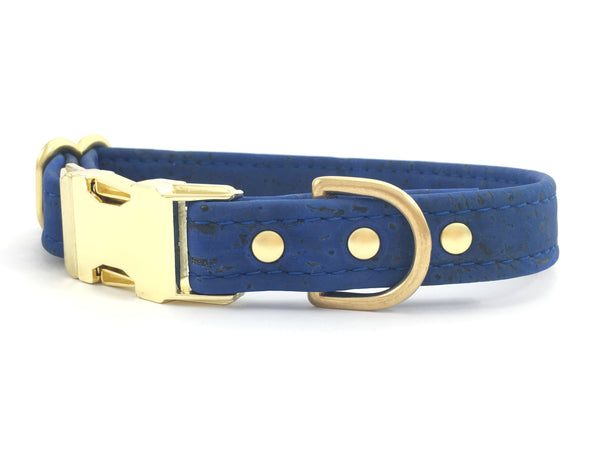 Blue vegan cork leather dog collar for boy and girl dogs, handmade in the UK