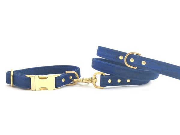 Blue vegan cork leather dog collar and lead with luxury solid brass hardware