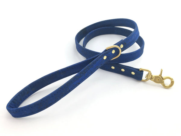 Blue boy dog lead in unique vegan cork leather, made in the UK
