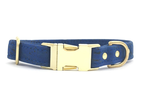 Blue dog collar in vegan cork leather with brass buckle and hardware, made in the UK