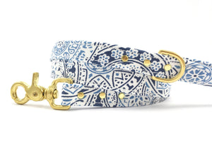 Luxury blue and white cotton patterned dog lead/leash with solid brass trigger snap hook and d ring