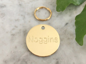 Luxury solid brass dog ID tag in polished brass, engraved in the UK, brass dog name tag