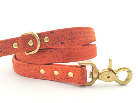 Luxury orange dog lead/leash in vegan cork 'leather' with solid brass gold trigger snap hook