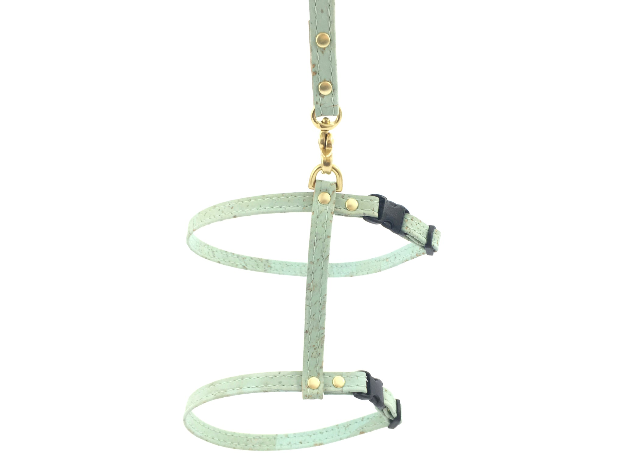 cat harness and leash in luxury vegan cork 'leather' with solid brass hardware, available in white, orange, green, pink, yellow and turquoise blue