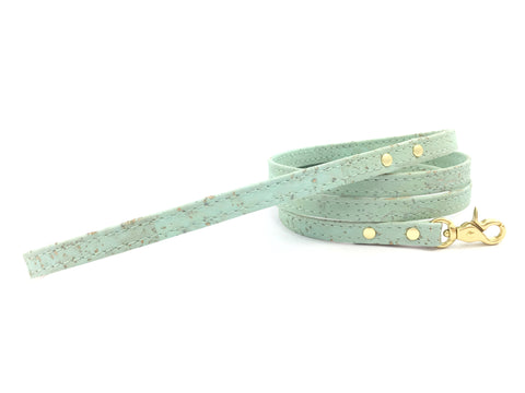 Cat lead in luxury vegan cork 'leather' for using with a cat harness, available in green, white, pink, orange, yellow and turquoise blue