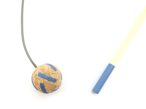 Cat Teaser Wand Toy - Blue Stripes Cork Ball With Solid Wood Stick