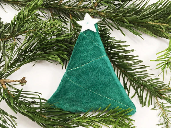 Cat Christmas tree toy with organic catnip in organic cotton velvet, made in the UK