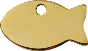 Fish cat ID tag in gold luxury solid brass for cats and kittens with personalised engraving