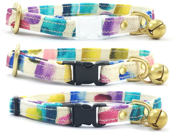 Funky cat collar in unique designer fabric with breakaway buckle and bell