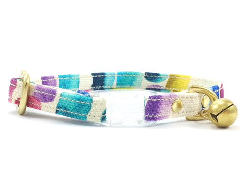 Funky cat collar with breakaway safety buckle and solid brass bell in cotton fabric