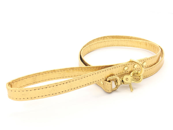 Bling gold dog lead in unique, sustainable and eco friendly vegan leather, made in the UK by Noggins and Binkles