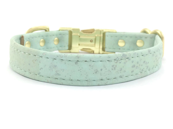 Pastel green dog collar in ethical, sustainable and eco friendly vegan cork leather, with brass hardware