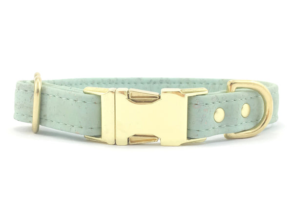 Luxury green vegan cork 'leather' dog collar with brass buckle and solid brass hardware available in small, medium and large